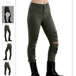 SLASHED JEGGINGS WITH LACES
